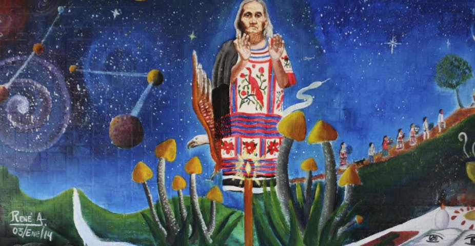image of a painting of a traditional healer with psilocybin mushrooms