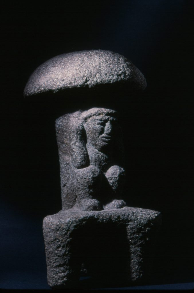 sculpture of Aztec psilocybe mushroom, stone