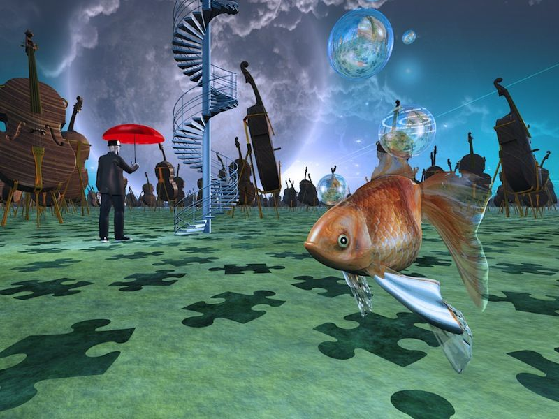 depicts surreal experience with fish swimming in air and psychadelic imagery