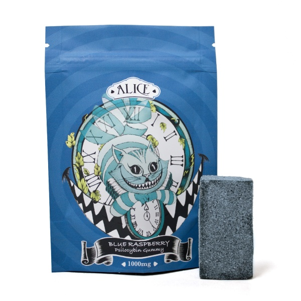 visualizes packaging for magic mushroom gummies, blue raspberry flavourby Alice