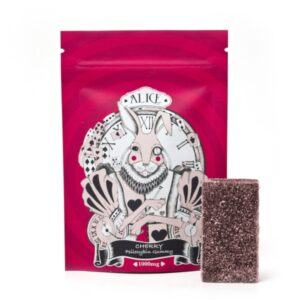 visualizes packaging for magic mushroom gummies cherry flavour by alice