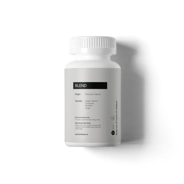 Visualizes rear of packaging of Magic Mushroom microdosing capsules by Spore Wellness