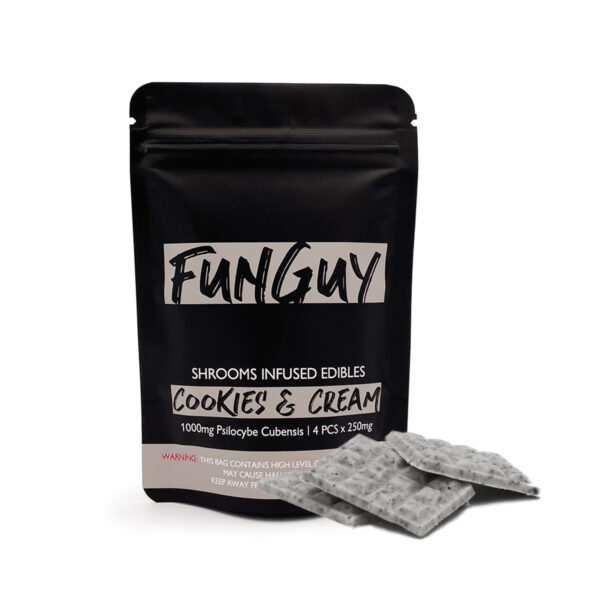 visualizes packaging for cookies & cream magic mushroom chocolates by Funguy