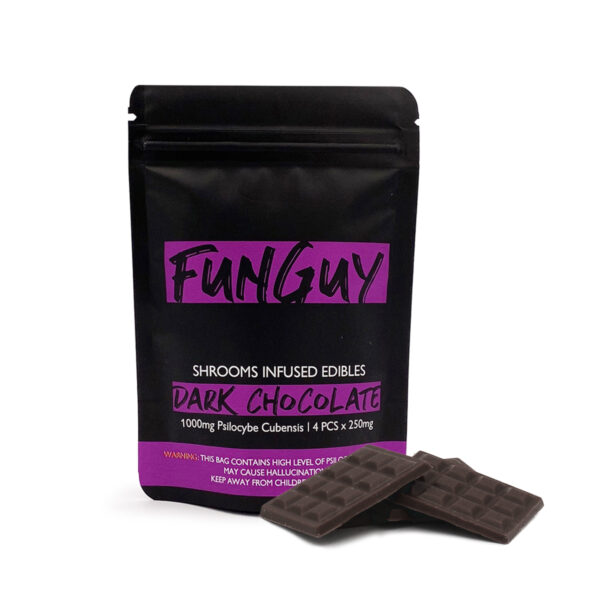 visualizes packaging for dark chocolate magic mushroom edibles by Funguy