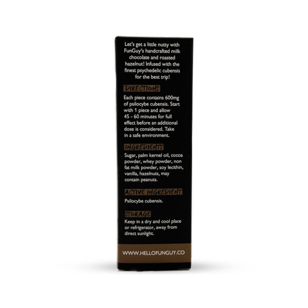visualizes rear of packaging for hazelnut crunch magic mushroom edibles by Funguy