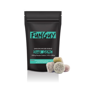 visualizes packaging for sour gems magic mushroom edibles by Funguy